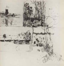 """Картина """"строение у воды. на окраине деревушки."""" художника """"левитан исаак"""""""