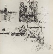 """Копия картины """"Строение у воды. На окраине деревушки."""" художника """"Левитан Исаак"""""""