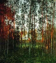 """Репродукция картины """"последние лучи солнца. осиновый лес."""" художника """"левитан исаак"""""""