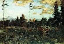 """Картина """"Срубленный лес. Поленница."""" художника """"Левитан Исаак"""""""