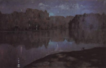 "Копия картины ""Ночь. Берег реки."" художника ""Левитан Исаак"""