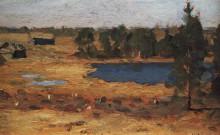 "Копия картины ""Озеро. Сараи у лесной опушки. "" художника ""Левитан Исаак"""