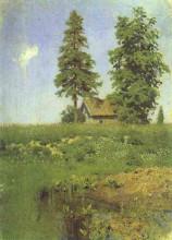 "Репродукция картины ""Small hut in a Meadow"" художника ""Левитан Исаак"""