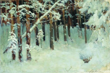 """Копия картины """"лес зимой"""" художника """"левитан исаак"""""""