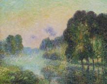 """Репродукция картины """"By the Eure River Fog Effect"""" художника """"Луазо Гюстав"""""""