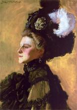 "Репродукция картины ""portret of the wife on a yellow background"" художника ""мехоффер юзеф"""