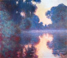 """Копия картины """"туманное утро на сене в синем"""" художника """"моне клод"""""""