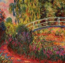 """Репродукция картины """"японский мостик (пруд с водяными лилиями, ирисы)"""" художника """"моне клод"""""""