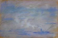 """Репродукция картины """"лодки на темзе, эффект тумана"""" художника """"моне клод"""""""