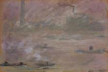 """Репродукция картины """"лодки на темзе, лондон"""" художника """"моне клод"""""""