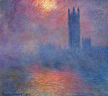 """Копия картины """"вестминстерский дворец, лондон. пробивается солнце"""" художника """"моне клод"""""""