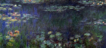 """Репродукция картины """"водяные лилии, зеленое отражение (левая половина)"""" художника """"моне клод"""""""