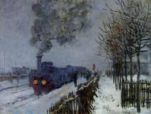 """Копия картины """"поезд в снегу (локомотив)"""" художника """"моне клод"""""""