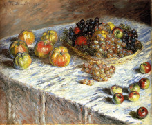 """Репродукция картины """"натюрморт с яблоками и виноградом"""" художника """"моне клод"""""""