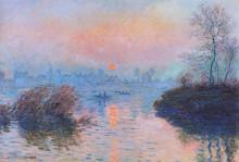 "Картина ""закат на сене в лавакуре, зимний эффект"" художника ""моне клод"""