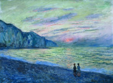 "Копия картины ""sunset at pourville"" художника ""моне клод"""