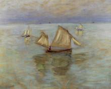 """Картина """"рыбацкие лодки в пурвиле"""" художника """"моне клод"""""""