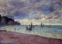 "Картина ""рыбацкие лодки у берега и скалы пурвиля"" художника ""моне клод"""