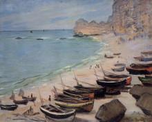 "Репродукция картины ""лодки на побережье в этрета"" художника ""моне клод"""