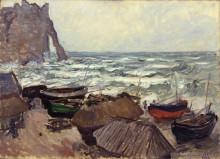 """Картина """"Рыбацкие лодки на побережье в Этрета"""" художника """"Моне Клод"""""""