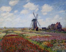 """Картина """"поля тюльпанов и мельница рийнсбурга"""" художника """"моне клод"""""""
