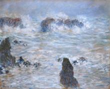 """Репродукция картины """"шторм на побережье в бель-иль"""" художника """"моне клод"""""""