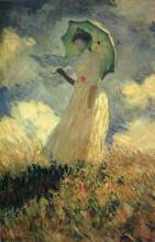 """Репродукция картины """"женщина с зонтиком (этюд фигуры, смотрящей налево)"""" художника """"моне клод"""""""