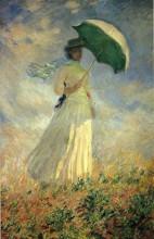 """Картина """"Женщина с зонтиком (этюд фигуры, смотрящей направо)"""" художника """"Моне Клод"""""""