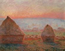 """Картина """"стога сена в живерни, вечернее солнце"""" художника """"моне клод"""""""