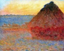 """Репродукция картины """"стог сена,впечатление в розовом и синем"""" художника """"моне клод"""""""