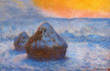 """Картина """"стога сена на закате, эффект снега"""" художника """"моне клод"""""""