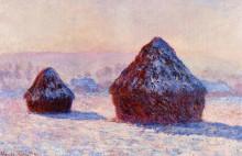"""Копия картины """"стога сена утром. эффект снега"""" художника """"моне клод"""""""