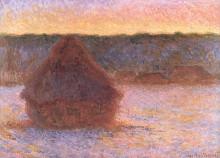 "Картина ""Стога сена на закате, морозная погода"" художника ""Моне Клод"""
