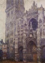 """Картина """"руанский собор, главный вход и тур д'альбан, пасмурная погода"""" художника """"моне клод"""""""