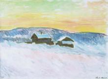 """Копия картины """"Пейзаж в Норвегии, синие дома"""" художника """"Моне Клод"""""""