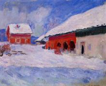 """Копия картины """"Красные дома Бьорнегаарда в снегу. Норвегия"""" художника """"Моне Клод"""""""