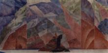 """Копия картины """"Эскиз декорации пролога к инсценировке Дневник Сатаны (по Л.Андрееву)"""" художника """"Петров-Водкин Кузьма"""""""