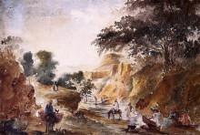 """Картина """"landscape with figures by a river"""" художника """"писсарро камиль"""""""