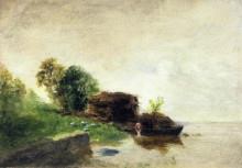 """Картина """"laundress on the banks of the river"""" художника """"писсарро камиль"""""""