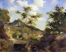 "Копия картины ""village at the foot of a hill in saint thomas, antilles"" художника ""писсарро камиль"""
