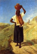 """Репродукция картины """"Woman Carrying a Pitcher on Her Head"""" художника """"Писсарро Камиль"""""""