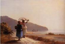"""Картина """"two woman chatting by the sea, st. thomas"""" художника """"писсарро камиль"""""""