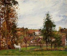 "Картина ""Landscape With A White Horse In A Field, L'Ermitage"" художника ""Писсарро Камиль"""