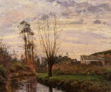 """Картина """"landscape with small stream"""" художника """"писсарро камиль"""""""