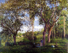 "Репродукция картины ""landscape with strollers relaxing under the trees"" художника ""писсарро камиль"""