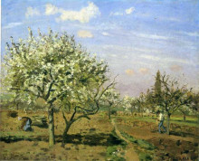 "Копия картины ""orchard in blossom, louveciennes"" художника ""писсарро камиль"""