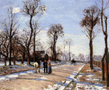 "Репродукция картины ""street winter sunlight and snow"" художника ""писсарро камиль"""