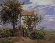 """Репродукция картины """"the house in the fields, rueil"""" художника """"писсарро камиль"""""""