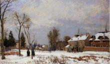 """Картина """"The Road from Versailles to Saint Germain, Louveciennes. Snow Effect"""" художника """"Писсарро Камиль"""""""