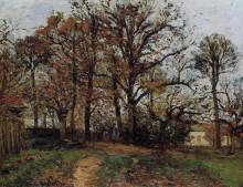 """Картина """"trees on a hill, autumn, landscape in louveciennes"""" художника """"писсарро камиль"""""""